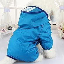 1 x Hunde-Regenjacke, wasserdicht, mit Kapuze, Overall, Hundemantel, Regenmantel, für kleine und mittelgroße Hunde