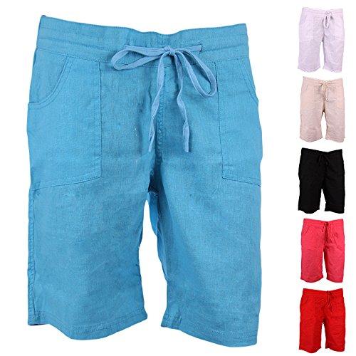 imtd Mesdames Été en lin pour femme vacances plage Porter Poche doux couleur lin pour homme 12–18 Rouge - Rouge