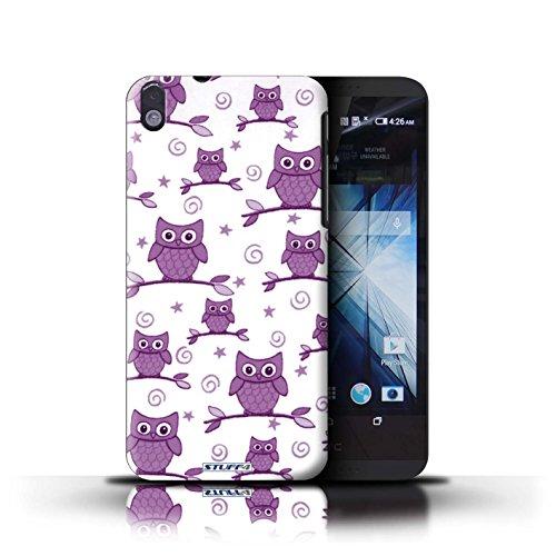 Kobalt® Imprimé Etui / Coque pour HTC Desire 816 / Rouge/Jaune conception / Série Motif Hibou Violet/Blanc