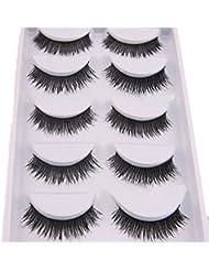 Bluelans® 5 Pairs Thick Cross Fake Eye Lash False Eyelashes Extension Makeup