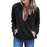 KUDICO Damen Plüsch Mantel Stand Kragen ReißVerschluss Flauschigen Sweatshirt Pullover Jumper Tops Outwear(Schwarz, EU-40/CN-L)