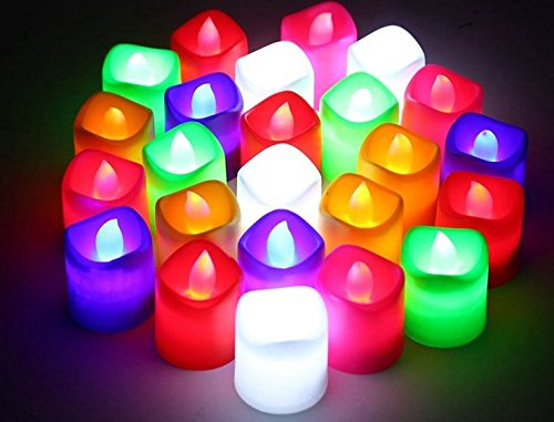 Pick Indiana LED Tea Light Candles - Multicolor (Box of 12)