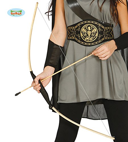 Guirca Pfeil und Bogen Set aus Holz Indianer Räuber Rächer Bogenschütze Kostüm ()