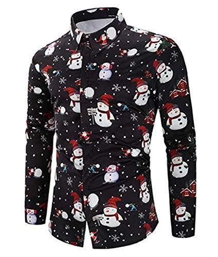 CHyaog Herren Hemd Weihnachten Weihnachtshemd Thema 3D Digitaldruck Knöpfbar Langarm Freizeit Xmas Bluse Shirt (G_Schwarz, Small)