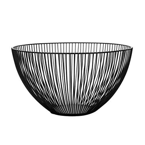eliaSan Metalldraht Obstbehälter Schalen Stehen Schwarz Eisen Aufsatz Obstkorb Schüssel Lagerung Große Multi-Storage Obstkorb für die Küche