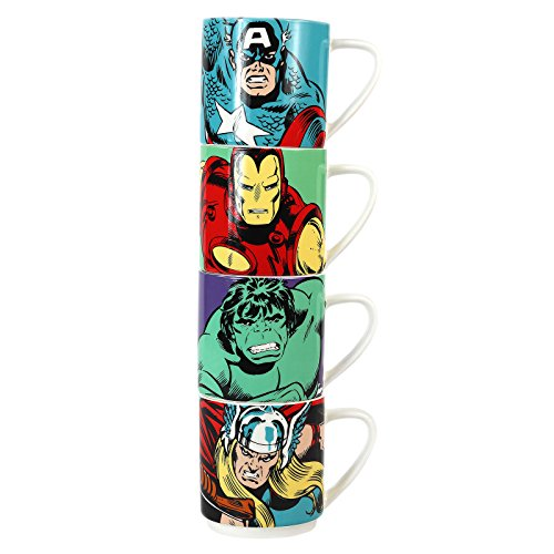 Marvel Comics Stacking Tasses Ensemble de 4 action en céramique héros officiel