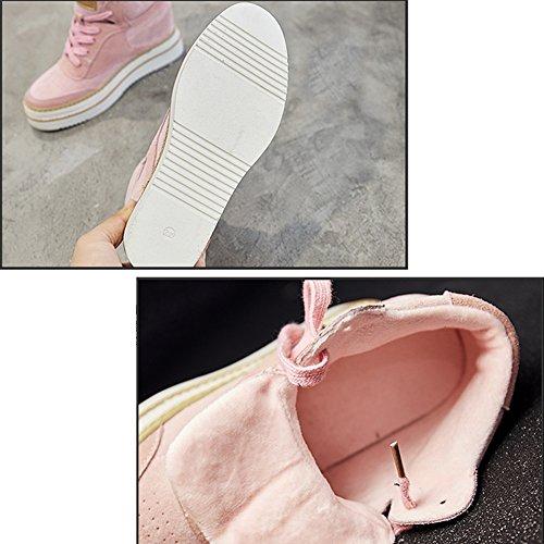 LIANGJUN Stivaletti Scarpe Da Donna Caviglia Stivali Scarpe Da Ginnastica Sport All'aperto Primavera Inverno, 5 Dimensioni, 2 Colori Disponibili ( Colore : Nero , dimensioni : EU35=UK4=L:225mm ) Rosa
