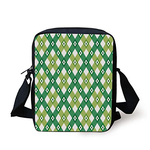 Floral,Striped Retro Flower Motif with Cross Line Groovy Old Fashion Print,Forest and Lime Green White Print Kids Crossbody Messenger Bag Purse -