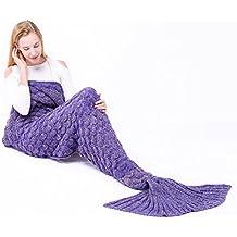 Manta hecha a mano manta cola de sirena cómodo sofá y aire acondicionado manta, todas las estaciones calentar sus pies saco de dormir 74.8x35.4 pulgadas