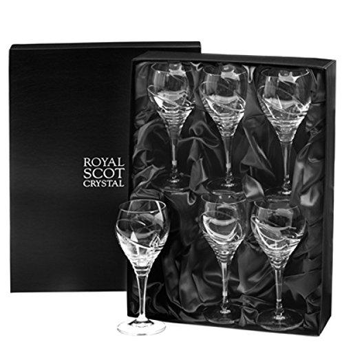 Box Set von sechs Kristall Saturn Design Kleine Wein Gläser in Geschenkbox von Royal Scot Kristall