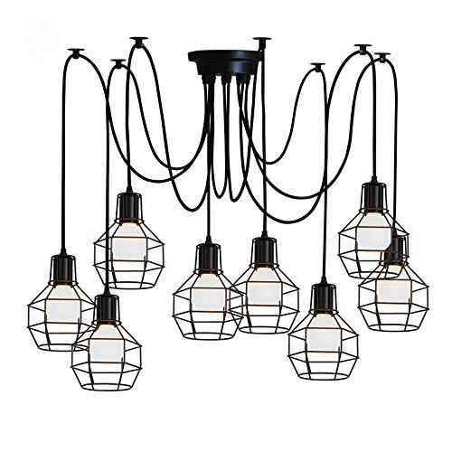 Moliay 8-industrial luces metal retro jaula colgante de la lámpara de araña...