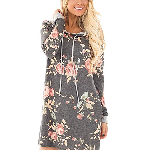 Petalum Damen Sweatshirtkleid Herbst Elegant Casual Blummenmuster Lang Ärmel Kapuzen Hoodiekleid Locker Long Tunika Kleid (Chicago Bulls Dress)