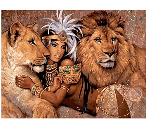 CNLSZM Löwe und Schönheit Körperkunst Bilder Raumdekoration Adam und Eva Malen nach Zahlen Hand Malen Zeichnung Wand Art-40x50cmWith Gerahmt