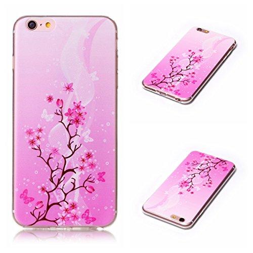 Apple iPhone 6/6S 4.7 Hülle, Voguecase Schutzhülle / Case / Cover / Hülle / TPU Gel Skin (Stein 02) + Gratis Universal Eingabestift Rot Blume/Schmetterling 07