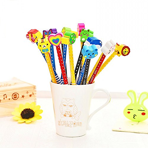 JZK 24 x Schule HB Stifte Set, Bleistifte mit Radiergummi von Tiere Blumen Sonne Schmetterling etc...