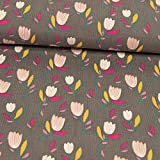Stoffe Werning Feincord Tulpen grau Kinderstoffe Modestoffe