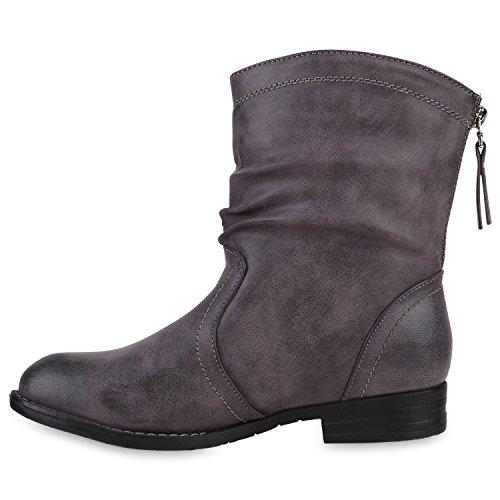 Gefütterte Schlupfstiefel Damen Zipper Stiefeletten Stiefel Grau