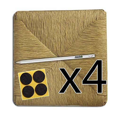 Sedute impagliate 37x37 ricambi per sedie [set di 4] + feltrini e matita in omaggio