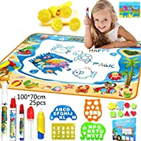 SooFam Doodle Mat, Large Aqua Magic Water Drawing Mat Toy Kids Painting Writing Pad Educational Learning Toys