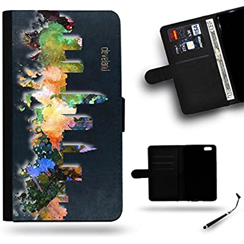 Free Stylus SPGJBECELL Phone Case // Cassa del raccoglitore di cuoio del sacchetto con il caso protettivo slot Samsung Galaxy Note 4 Edge N9150 #Cleveland OH Ohio city Skyline watercolor painting BLACKOUT#