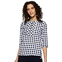 Styleville.in Women's Checkered Regular Fit Shirt (STSF401916_Navy_M)