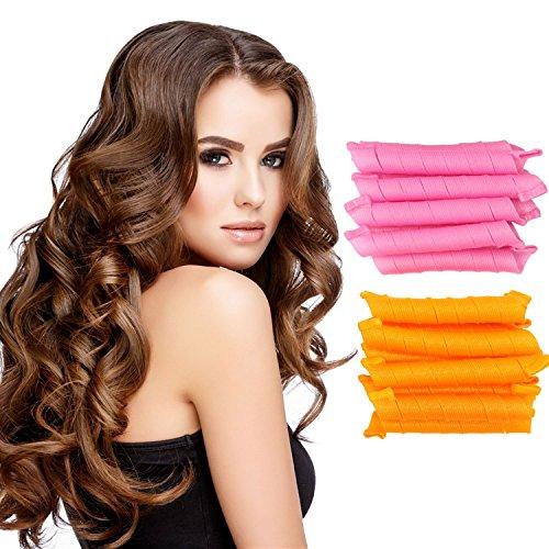 Anewone 50CM DIY Manual Hair Curler Magic Spiral Ringlets Stretched Circle Roller 40 Packs (pink&orange)