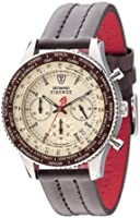 DETOMASO Firenze Men's Quartz Watch with Beige Dial Chronograph Display and Brown Leather Bracelet Sl1624C-Bg