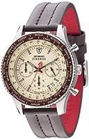 DETOMASO Firenze Men's Quartz Watch with Beige Dial Chronograph Display and Brown Leather Bracelet Sl1624C-Bg