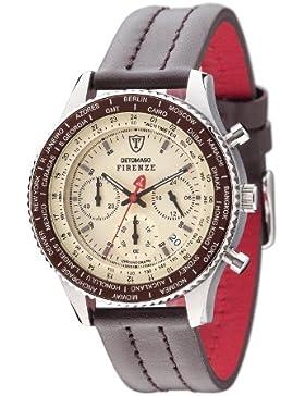 DETOMASO Herren- Armbanduhr Firenze Chronograph mit silbernem Edelstahl-Gehäuse und beigem Zifferblatt. Klassische...