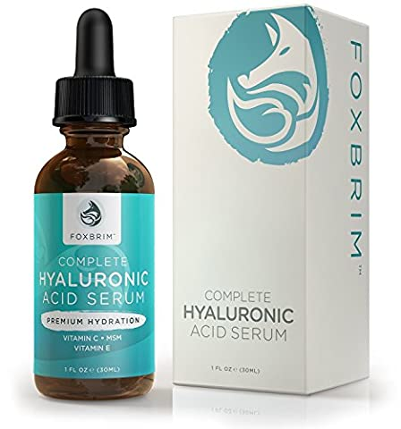 Foxbrim Complete Hyaluronic Acid Serum - Anti Ageing Face Serum - Reduce Fine Lines - With Vitamin C, Green Tea, Jojoba Oil & Witch Hazel - Natural & Organic -