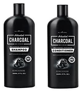 All Natural Activated Charcoal Shampoo 500ml & Conditioner 500ml Set