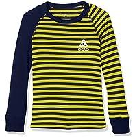 Odlo Niños Camiseta L/S Crew Neck Warm Kids Unte rhemden LG.Pulsera KI, Otoño-Invierno, Infantil, Color Peacoat - Blazing Yellow, tamaño 116