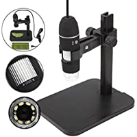 multifunci/ón color negro free size Microscopio digital 1600X con 8 luces LED y soporte de elevaci/ón y ca/ída microscopio /óptico digital endoscopio lupa electr/ónica USB