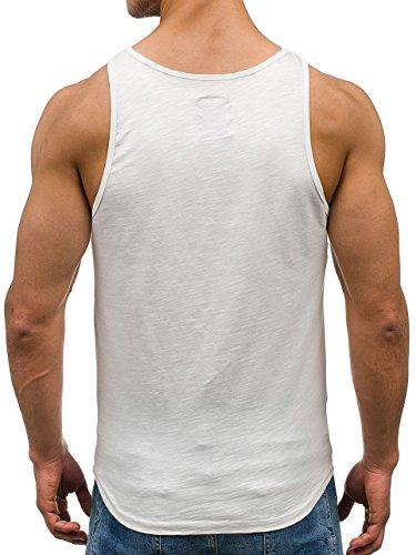 BOLF Herren Tanktop T-Shirt Ärmellos Motiv Casual Military Army Sommer 3C3 Camo Weiß_9063