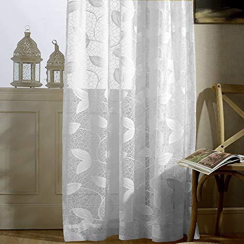 VOGOL youyee Modische Gardinen (2Platten, 264,2cm lang) Home Fashions Elegante Semi Sheer Rüschen Fenster Vorhang Panels Behandlungen, Polyester, weiß, 42 * 84 (Home Platten)