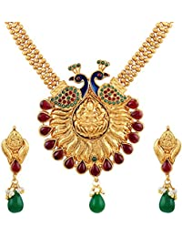 Asmitta Wavy 3 String Peacock Design With Meenakari Work Gold Plated Matinee Style Necklace Set For Women
