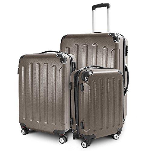 Kofferset 3-teilig Reisekoffer Trolley Hartschalenkoffer ABS Teleskopgriff (Braun)