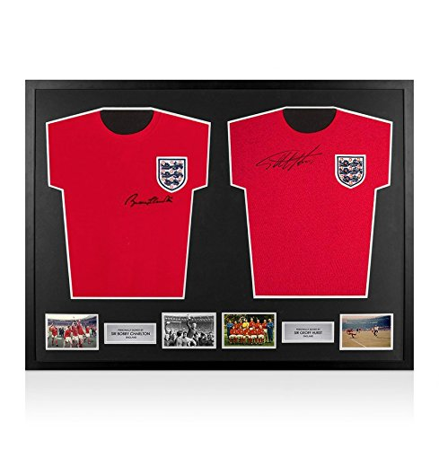 Framed-Sir-Bobby-Charlton-Sir-Geoff-Hurst-Signed-England-Shirts-Dual-Framed