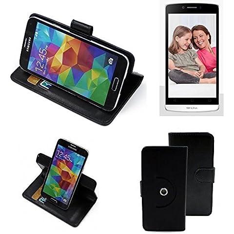 360 ° della copertura della cassa Smartphone TP-LINK Neffos C5L, nero | Cassa del raccoglitore stand funzione Bookstyle. Migliore prezzo, migliore prestazione - K-S-Trade