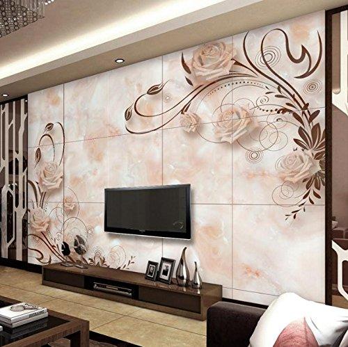 Mbwlkj 3D Custom 3-D-Effekt Modern Fashion Foto Tapete Wohnzimmer Bett Zimmer Desktops Wandbild Europäischen Romantische Marmor Fliesen Wandmalerei-150Cmx100Cm