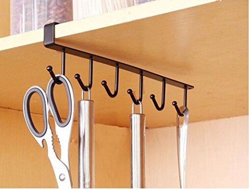 Prevently Aufhänger Kleiderhaken Küche Lagerregal Schrank hängende Haken Kleiderbügel Brust Speicher Veranstalter Halter (Schwarz)