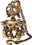 Aone India Brass Hanging Peacock Diya wi...
