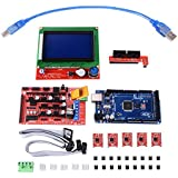 XCSOURCE® Kit de impresora 3D con RAMPS 1.4 Controlador + Mega 2560 Board + 5pcs A4988 Controlador de motor de pasos con disipador de calor + LCD 12864 Controlador gráfico de visualización inteligente con adaptador para Arduino TE621