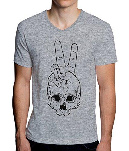 Skull Peace Fine Art Design Men's V-Neck T-Shirt X-Large -