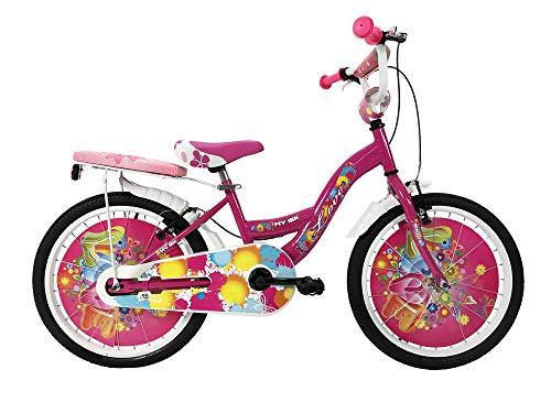 """IBK Bici Bicicletta Bambina Love Misura 20"""" Colore Bianco con PARAFANGHI (Rosa)"""