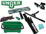 Unger Ninja–Kit per pulizia vetri: secchio 28l, spugna e spatola 45cm