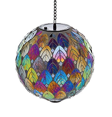 Evergreen Feathered Mosaic Hanging Solar Gazing Ball