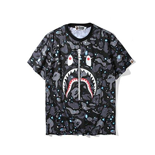 BOMOVO BAPE Drucken Camouflage Shark T-Shirt Grau