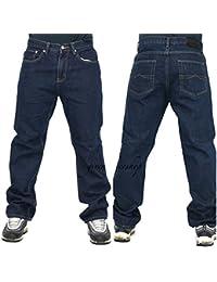 Peviani Jeans Hommes, Indigo G Pantalon Jeans, Droit, Coupe Ample Hip Hop Étoile Lavage