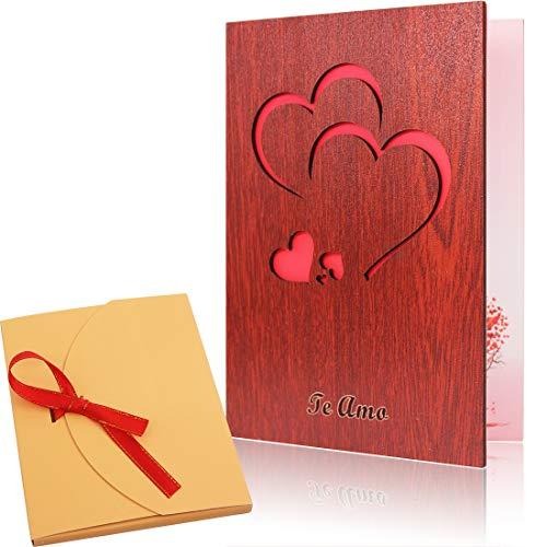 Tarjeta felicitación amorosa madera nogal hecha mano